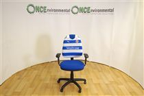 Operators chair recovered in your favourite's football club shirtOperators chair recovered in your favourite's football club shirt. You supply the top (any football club shirt) and we will do the rest! Price starting from £85. We can recover the seat in any colour fabric you want.
