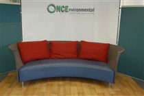 4-Seater Curved Reception Sofa4 seater reception sofa in a grey colour fabric back and blue leather seat