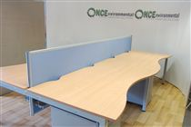 3200 x 2000 Double wave four position bench desking in beech