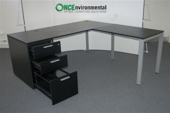 Desks   1800 X 1800 Laporta RH Ergonomic Desk In Black Complete With A 3  Drawer Pedestal