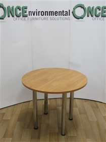 Apple 900MM Diameter Round Table On Chrome LegsApple used second hand 900mm diameter round meeting table.