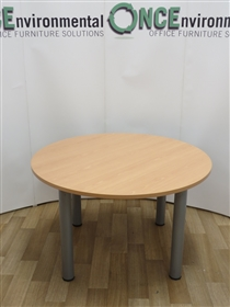 Beech 1200 Diameter Round TableUsed second hand beech 1200mm diameter round table on silver legs. Top thickness is 25mm thick. Suitable for four people.