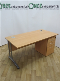 Office InteriorsOFI Beech 1600W x 800D Rectangular Desk. 29 IN STOCK.Used second hand Beech 1600w x 800d rectangular desk on a silver cantilever leg frame. Complete with a 3-drawer beech lockable under desk mobile pedestal. Supplied with one key.