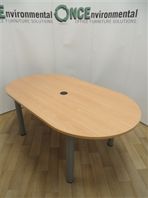 Beech D-End Meeting Table 1800L x 1000D Used second hand beech d-end table 1800w x 1000d with central cable port on silver legs.
