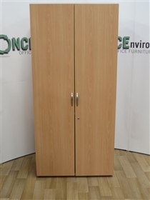 Beech 2000H x 1000W x 450D Double Door Cupboard. 8 IN STOCK.Beech 20o0h x 1000w x 450d used second hand double door cupboard with adjustable shelves.