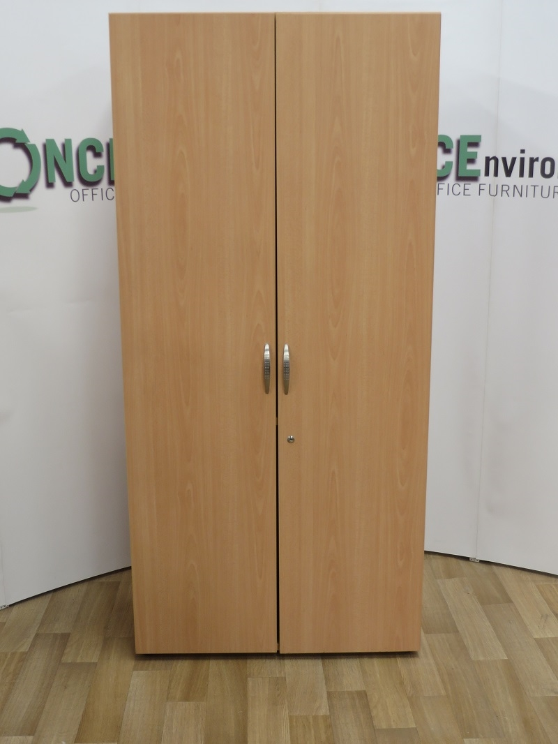 Office Storage - Beech 2000H x 1000W x 450D Double Door Cupboard. 8 IN  STOCK.