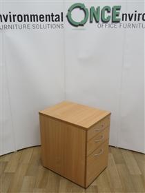 Beech 680H x 438W x 600D 3-Drawer Under Desk Mobile Pedestal 12 In StockUsed second hand beech under desk mobile pedestal.