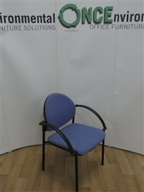 Belgrave Stackable Arm Chair Available In Any Colour FabricUsed second hand Belgrave stackable arm chair available in any colour fabric. With black curved arms, black poly back and on four black legs.