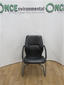Black Leather Full Back Cantilever Arm Chair On A Silver FrameBlack leather used second hand cantilever meeting chair on a silver frame