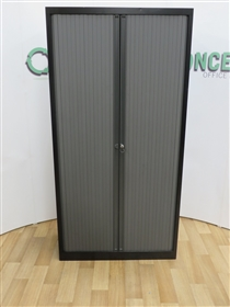 Black Tambour Door Cupboard 1980H x 1000W x 430DUsed second hand black 1980h x 1000w x 430d tambour door cupboard.