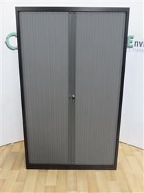 Black Tambour Door Cupboard 1980H x 1200W x 430DUsed second hand black tambour door cupboard 1980h x 1200w x 430d with four adjustable shelves.