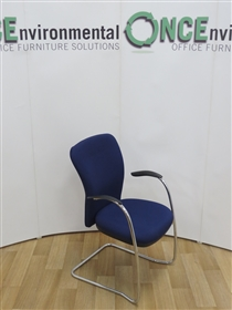 Chrome Frame Full Back Cantilever Arm Chair Available In Any Colour FabricChrome frame high back second hand used cantilever stackable arm chair available in any colour fabric.