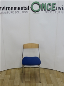 Chrome Frame Stackable Breakout Chair Available In Any Colour Fabric Or Vinyl On The SeatChrome Frame Stackable Breakout Chair With Beech Wood Back.