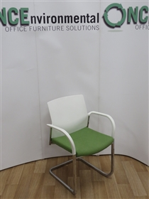 ConnectionConnection IS Chrome Frame Stackable Cantilever Arm Chair Available In Any Colour Fabric On The SeatConnection IS chrome frame stackable cantilever arm chair with white poly back and arms.