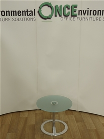 Frosted Glass Coffee/Reception Table 500nm DiameterFrosted glass 500mm diameter round coffee table on a chrome pedestal base.