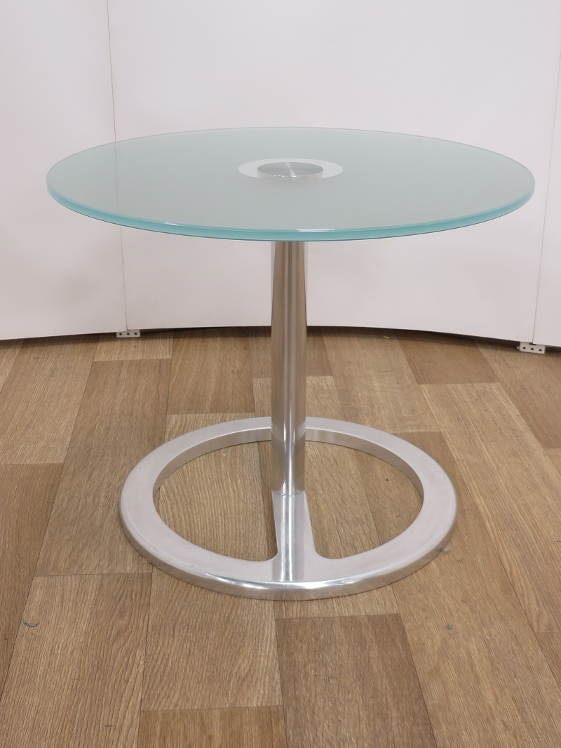 Used Tables Frosted Glass Coffee Reception Table 500nm Diameter