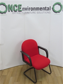 Full Back Cantilever Arm Chair Available In Any Colour Fabric.Full back used second hand cantilever arm chair for boardroom or conference use.