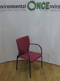 Full Back Stackable Arm Chair Available In Any Colour FabricFull back stacking arm chair on a grey frame available in any colour fabric.