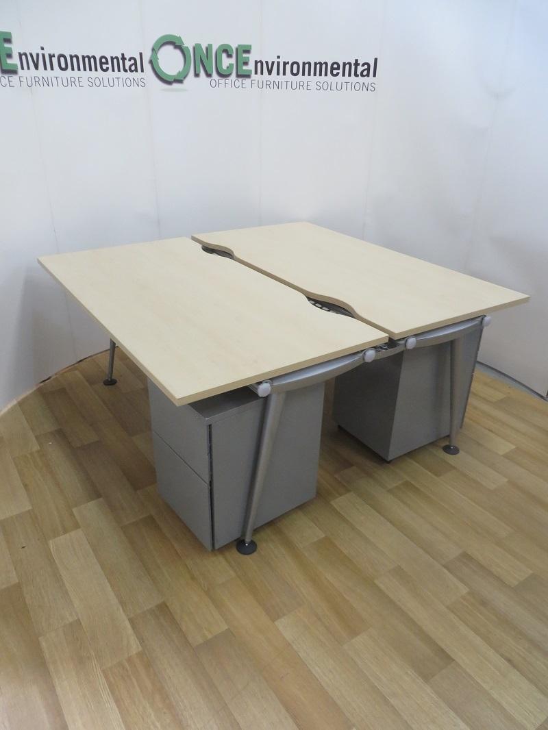Used Desks Herman Miller Abak Maple Bench 1600w X 1630d