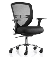 DynamicIris Black Mesh Back Black Fabric Seat Operator Task ChairBlack mesh black fabric seat task operator chair with flip back arms and gas lift height adjustment.