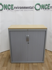 JG Silver Tambour Door Cupboard 1080H x 1000W x 450DJG used second hand silver tambour door cupboard with light oak top 1080h x 1000w x 450d and two adjustable shelves