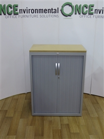 JG Silver Tambour Door Cupboard 1080H x 800W x 450DUsed Secind Hand Silver tambour door cupboard 1080h x 800w x 450d with two roll out file frames for A4 hanging files.