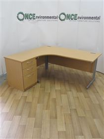 Light Oak 1800 x 1200 Left Hand Workstation. 42 IN STOCK.Light Oak 1800 x 1200 Left Hand Workstation Complete With A 3-Drawer Desk High Pedestal