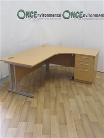 Light Oak 1800 x 1200 Right Hand Workstation. 42 IN STOCK.Light Oak 1800 X 1200 Right Hand Workstation Complete With A 3-Drawer Desk High Pedestal.
