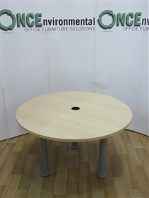 Maple 1200 Diameter Round Table On Silver LegsMaple used second hand 1200 diameter round meeting table