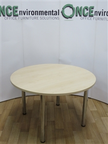 Maple 1200 Diameter Round Table On Chrome LegsMaple used second hand 1200 diameter round meeting table.