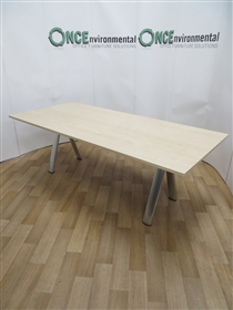 Maple 2200L x 1000D Rectangular Table On A Chrome Finish A FrameMaple used second hand 2200 x 1000 meeting table on a chrome finish A frame.