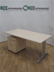 Sit Stand White, Beech or Light Oak 1600w x 800d Electronic Height Adjustable Desk 680mm - 1130mm Adjustable Height RangeElectronic Height Adjustable Desk.