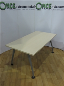 Maple Table 1400W x 800D On Silver Tapered LegsMaple table 1400w x 800d on silver tapered legs with two locking castors.