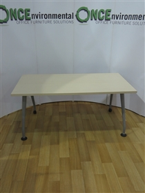 Maple Table 1600W x 800D On Silver Tapered LegsMaple table 1600w x 800d on silver tapered legs with two locking castors.