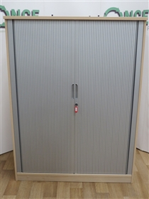 Maple Carcus Tamour Door Cupboard 1600H x 1200W x 550DUsed Second hand maple carcus tambour door cupboard, woth silver lockable doors and adjustable shelves.