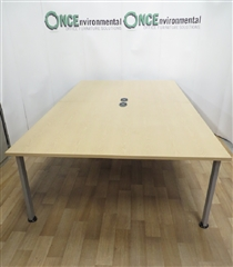 Morris Light Oak 3000L x 1600W TableMorris light oak 3000 x 1600 meeting table on a silver finish frame with two central cable management ports. Suitable for fourteen people.