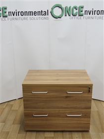OFI Walnut Finish 2-Drawer Side Filer 900W x 730H x 600DUsed second hand walnut 2-drawer side filer with silver handles 900w x 730h x 600d. For foolscap filing. Lockable And Supplied with one key.