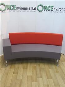 OrangeboxOrangebox Path Concave Reception Sofa With A Single ArmOrangebox Path single arm reception sofa on shaped chrome legs. Dimensions are 2000w x 680d.