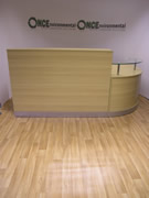 NoneLight Oak, Walnut or Beech Reception desk 2400 x 1600 Left Hand Or Right Hand.Reception desk 2400 x 1600 complete with glass shelf. The return section can go on the left or right hand side.  Available in light oak, beech or walnut.