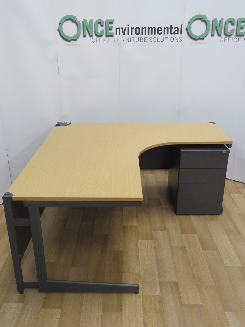 Used Desks Paragon Light Oak 1600 X 1600 Right Hand