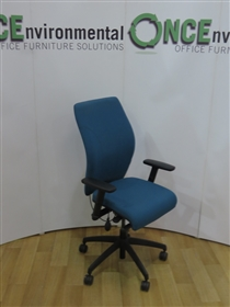 PledgePledge Tas TS121 High Back Task Chair Available In Any Colour FabricPledge Tas Used Second Hand high back task chair with height adjustable arms and pump up lumbar support.