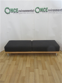Reception Bench 2000W x 640D x 440H Available In Any Colour FabricReception bench 2000w x 640d x 440h with beec wood surround on silver legs.