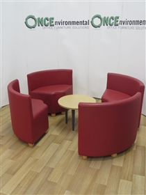 Red Leather 4-Piece Quadrant Reception Seating. Red Leather Quadrant Reception Seating.