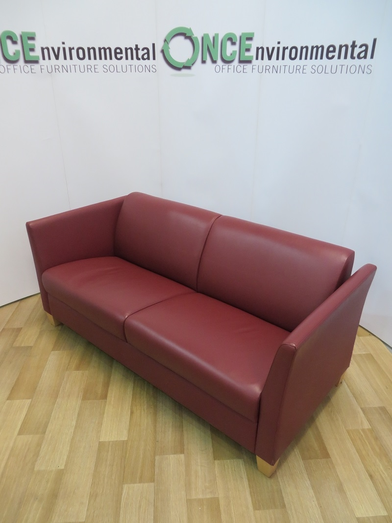Used Chairs Red Leather Full Arm Reception Sofa On Beech Legs