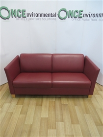 Red Leather Full Arm Reception Sofa On Beech LegsRed leather full arm reception sofa 1750w x 780d