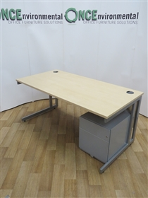Maple 1600W x 800D Rectangular Desk. 22 IN STOCKUsed second hand 1600w x 800d maple rectangular desk with a modesty panel on a silver cantilever leg frame, complete with a silver steel 2-drawer under desk mobile pedestal.