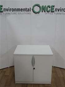 White Double Door Cupobard 800W x 600D x 730H 6 IN STOCKUsed second hand white double door cupboard 800w x 600d x 730h complete with one adjustable shelf. Lockable and supplied with one key.