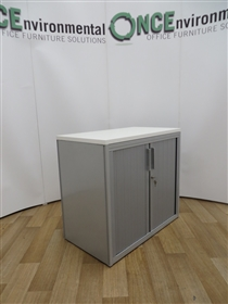 Silver Tambour Door Cupboard 725H x 800W x 450D Available With Any Colour TopUsed second hand silver tambour door cupboard 725h x 800w x 450d complete with one adjustable shelf. Doors are lockable and is supplied with one key. Any colour top is available for this product.