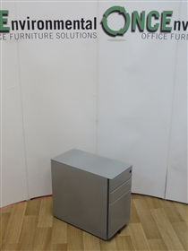 Slim Silver Steel 550H x 300W x 600D Under Desk Mobile Pedestal 19 IN STOCKSlim 3-drawer used second hand under desk mobile pedestal in silver finish 550h x 300w x 600d.