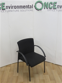 Stackable Meeting Room Chair With Arms Available In Any Colour FabricStackable Meeting Chair On A Black Frame.